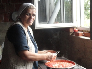 Lindita's Mother-in-law making avjar on a lovely September day