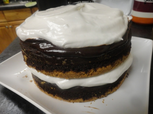 Yes, a s'more cake.  A recipe that Katie made up and it was as delicious as it looks. I will give you the details below.