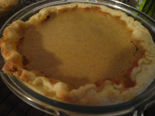 "When you make this filling and pour it into the pie shell and it doesn't quite fill that deep dish and it is not like you are in a country where you can go out and buy some more pumpkin in a can, what so you do?  Well, you bake that pie anyway and the crust collapses on the top of the filling and you end up with ""stuffed crust pumpkin pie""! Not very pretty, but delicious.  Pumpkin on every tiny bit of crust.  we are going to try it again next year - tradition!"