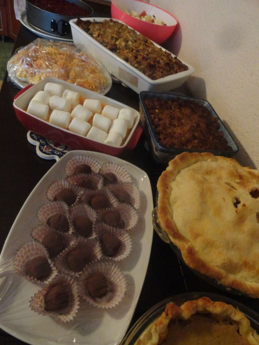 truffles and sweet potatoes, and stuffing, and fruit salad, and cheesecake, and pies - oh my!