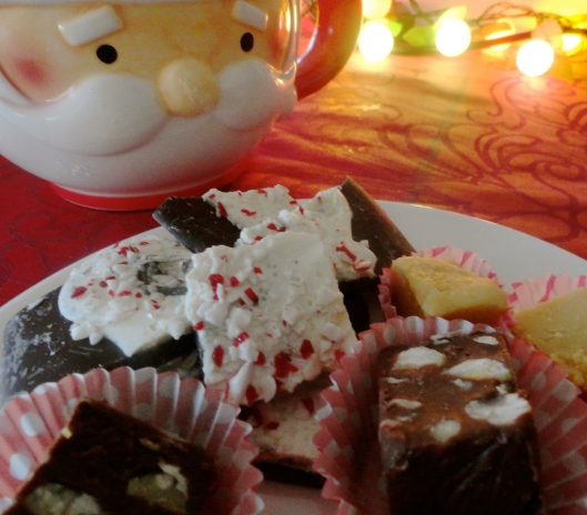 peanut butter fudge, chocolate fudge, and peppermint bark.
