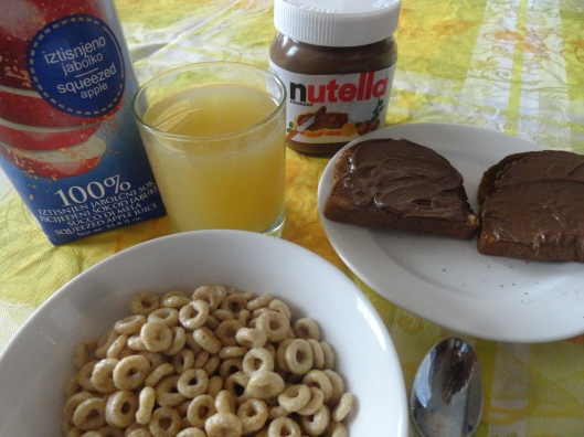 Honey Nut Cheerios and Nutella - power breakfast!