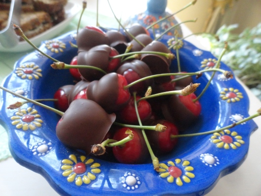 cherries dipped in chocolate.  The girls liked climbing the tree in the yard to get those cherries the most of anything they helped with.