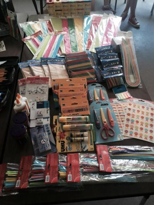 The good people of Milroy Christian Church sent a collection to Becca, our social science teacher, so that she could buy school supplies more than enough to make learning fun.